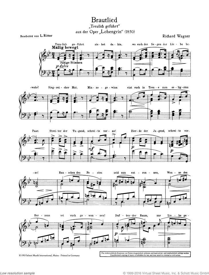 Bridal Chorus sheet music for harmonium (with text) by Richard Wagner, classical score, easy/intermediate skill level