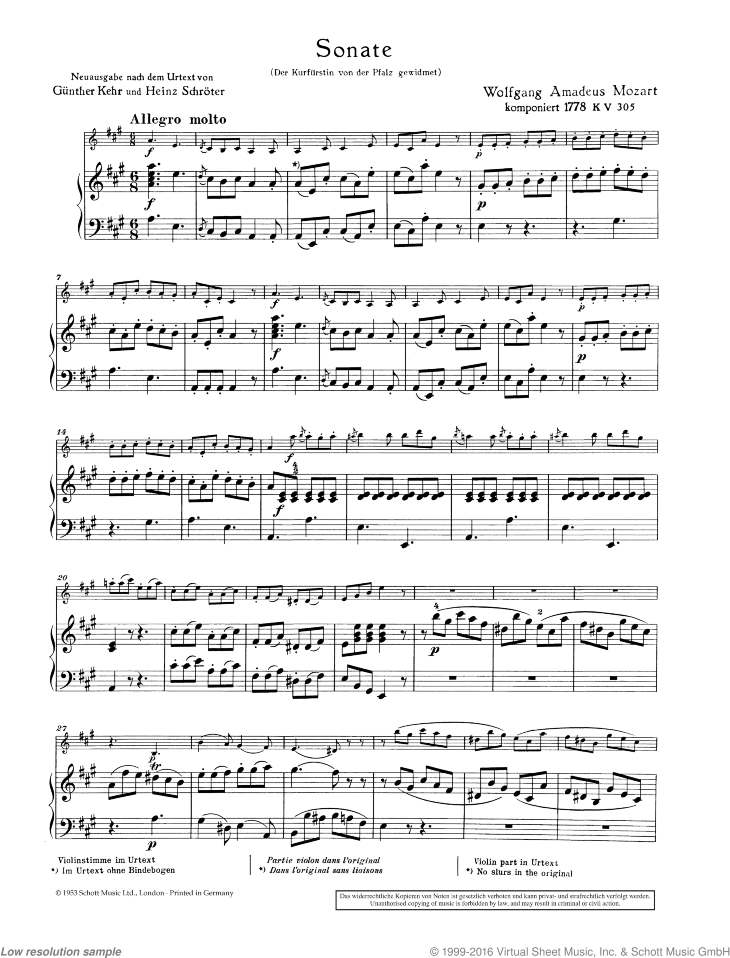 Sonata in A major sheet music for violin and piano by Wolfgang Amadeus Mozart, classical score, easy/intermediate skill level