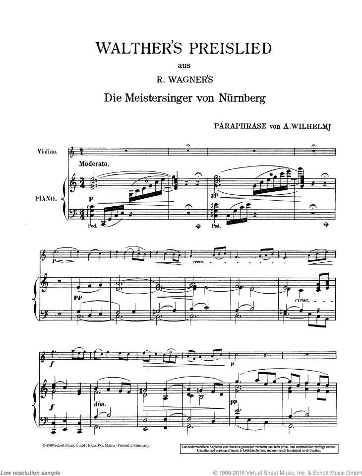 Walther's Preislied sheet music for violin (viola) and piano by Richard Wagner, classical score, easy/intermediate skill level