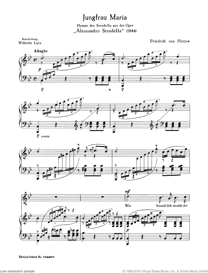 Jungfrau Maria sheet music for tenor and piano by Friedrich von Flotow, classical score, easy/intermediate skill level