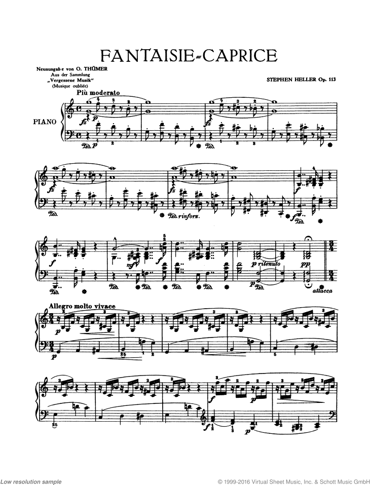 Fantasie-Caprice sheet music for piano solo by Stephen Heller, classical score, intermediate/advanced skill level