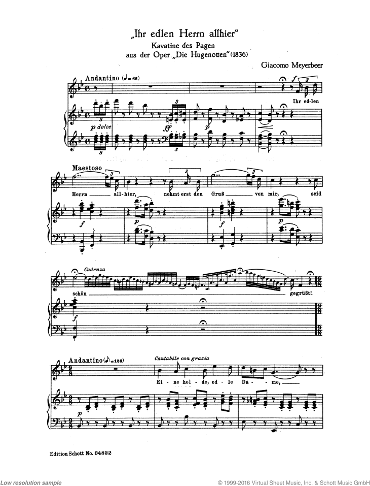 Ihr edlen Herrn allhier sheet music for soprano and piano by Giacomo Meyerbeer, classical score, intermediate/advanced skill level