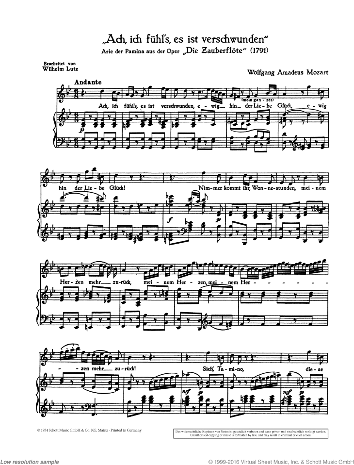 Ach sheet music for soprano and piano by Wolfgang Amadeus Mozart, classical score, intermediate/advanced skill level