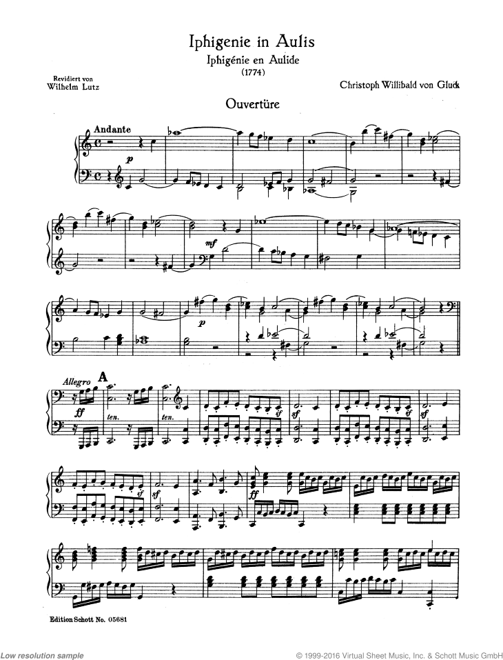 Iphigenie in Aulis sheet music for piano solo by Christoph Willibald Gluck, classical score, easy/intermediate skill level