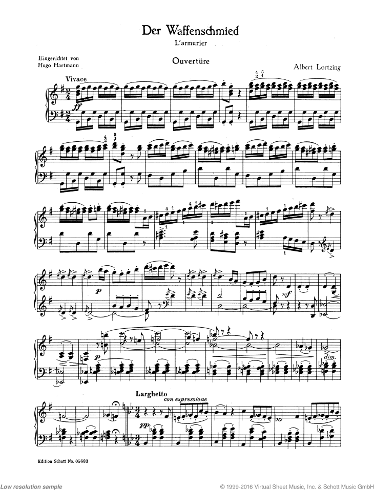 The Armourer sheet music for piano solo by Albert Lortzing, classical score, easy/intermediate skill level