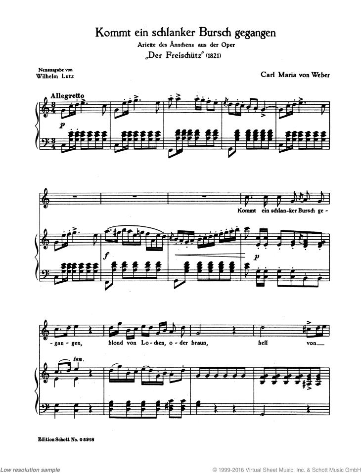 Kommt ein schlanker Bursch from Der Freischütz - Score