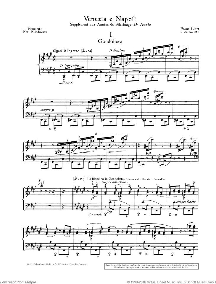 Gondoliera sheet music for piano solo by Franz Liszt, classical score, advanced skill level