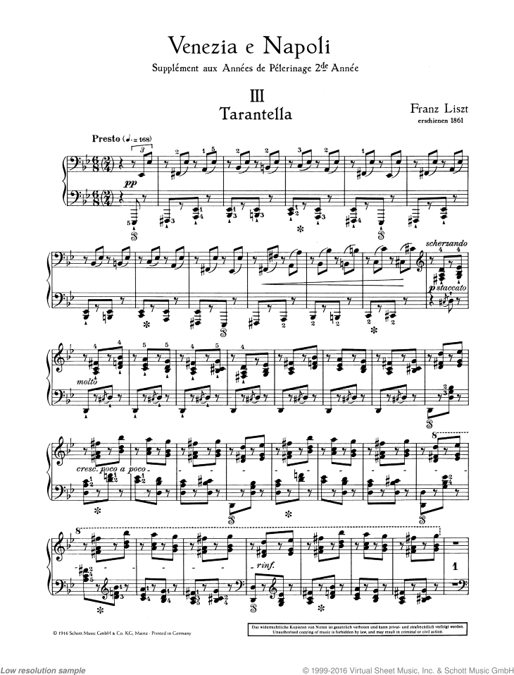 Tarantella sheet music for piano solo by Franz Liszt, classical score, advanced skill level