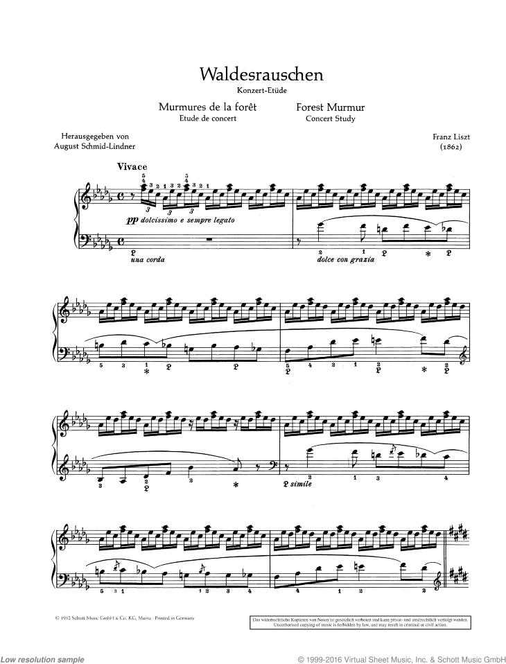 Liszt - Forest Murmur, Concert Study sheet music for piano solo