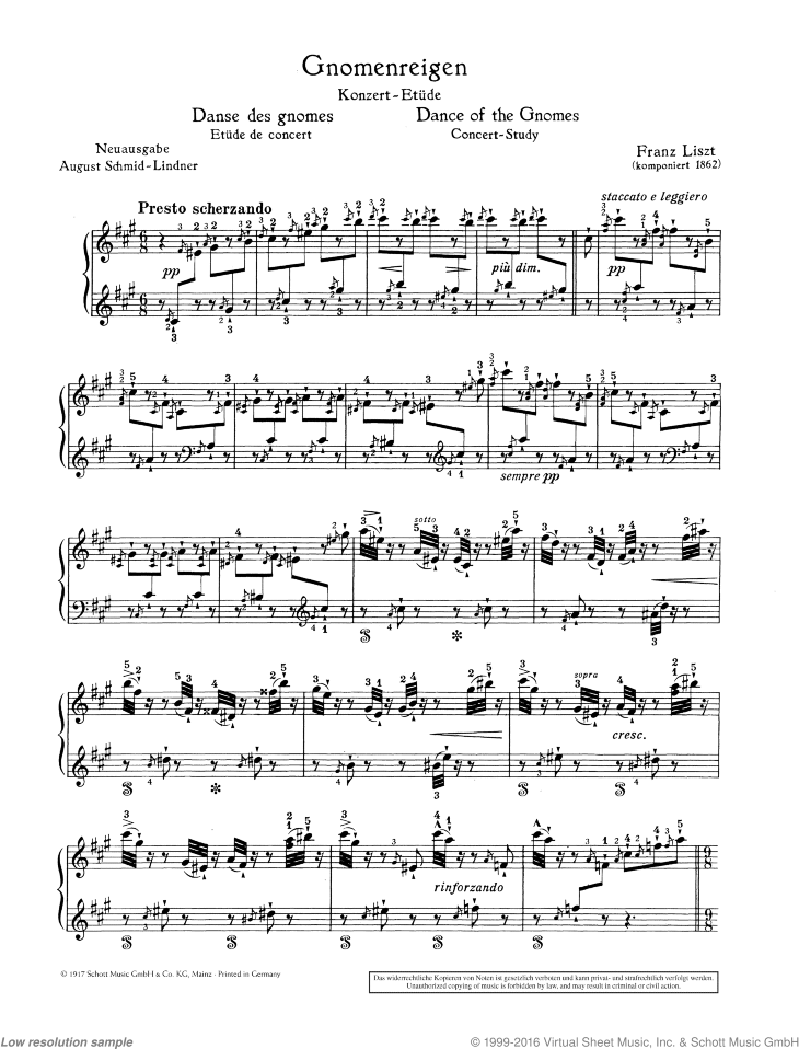 Liszt - Dance of the Gnomes, Concert Study sheet music for piano solo