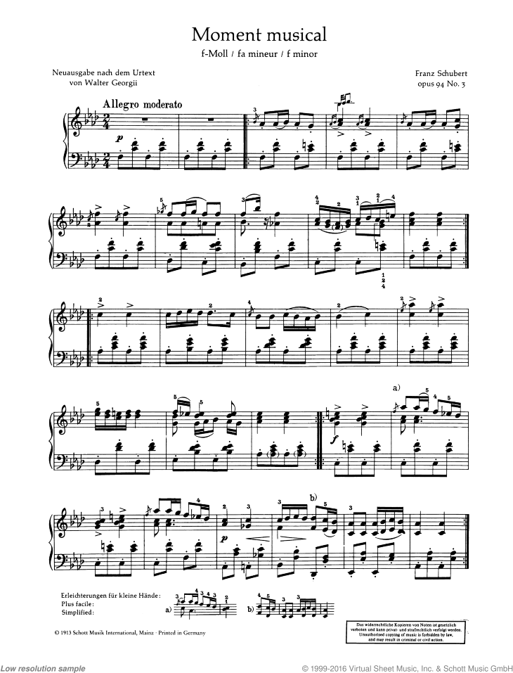 Moment musical sheet music for piano solo by Franz Schubert, classical score, advanced skill level