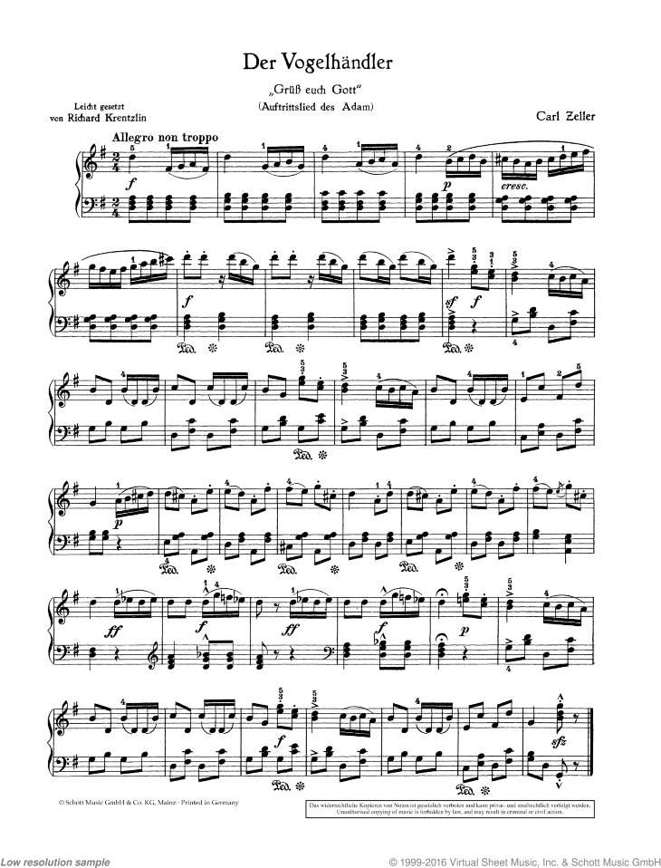 Gruss euch Gott / Schenkt man sich Rosen in Tirol sheet music for piano solo by Carl Zeller, classical score, easy skill level