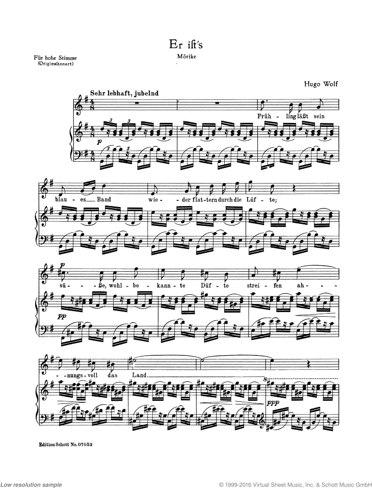 Er ist's / Der Gartner sheet music for soprano and piano by Hugo Wolf, classical score, easy/intermediate skill level