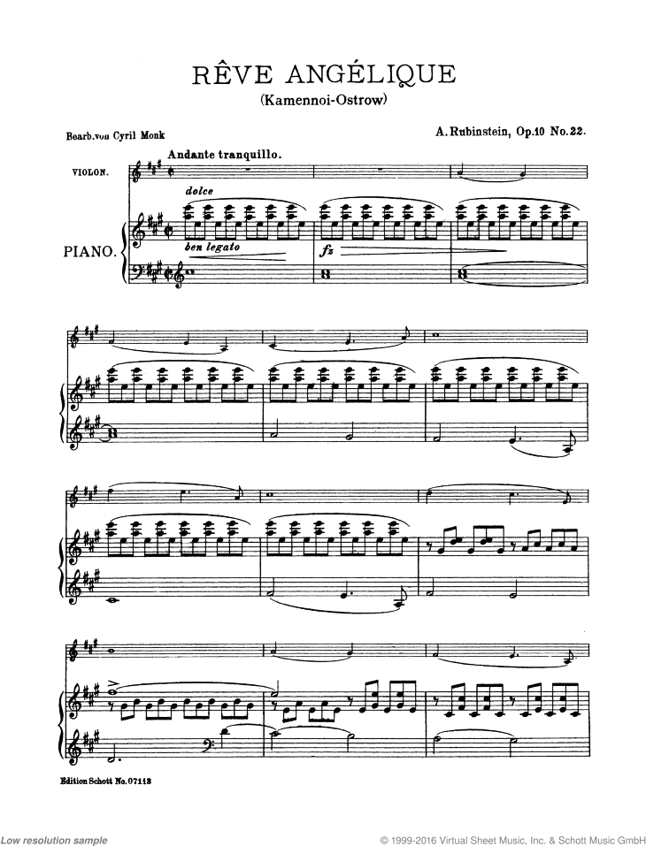Reve angelique sheet music for violin and piano by Anton Rubinstein, classical score, easy/intermediate skill level