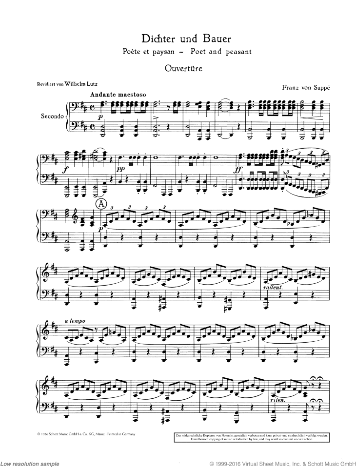 Dichter und Bauer sheet music for piano four hands by Franz Von Suppe, classical score, easy/intermediate skill level