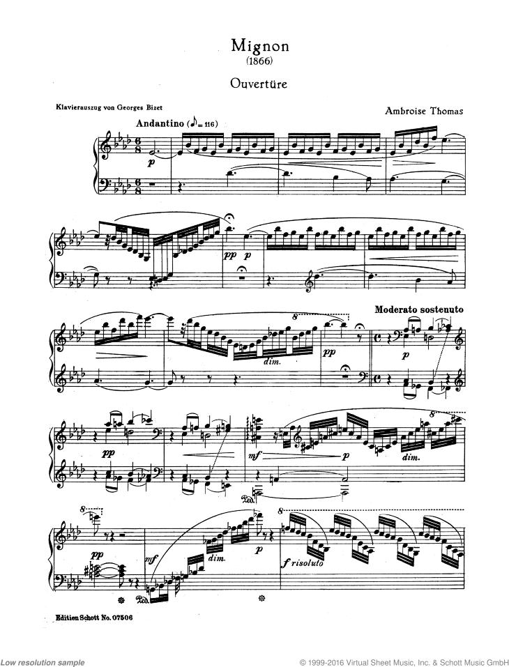 Overture from Mignon - Piano