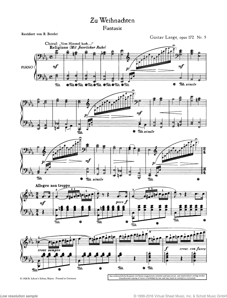 Zu Weihnachten sheet music for piano solo by Gustav Langer, classical score, easy/intermediate skill level