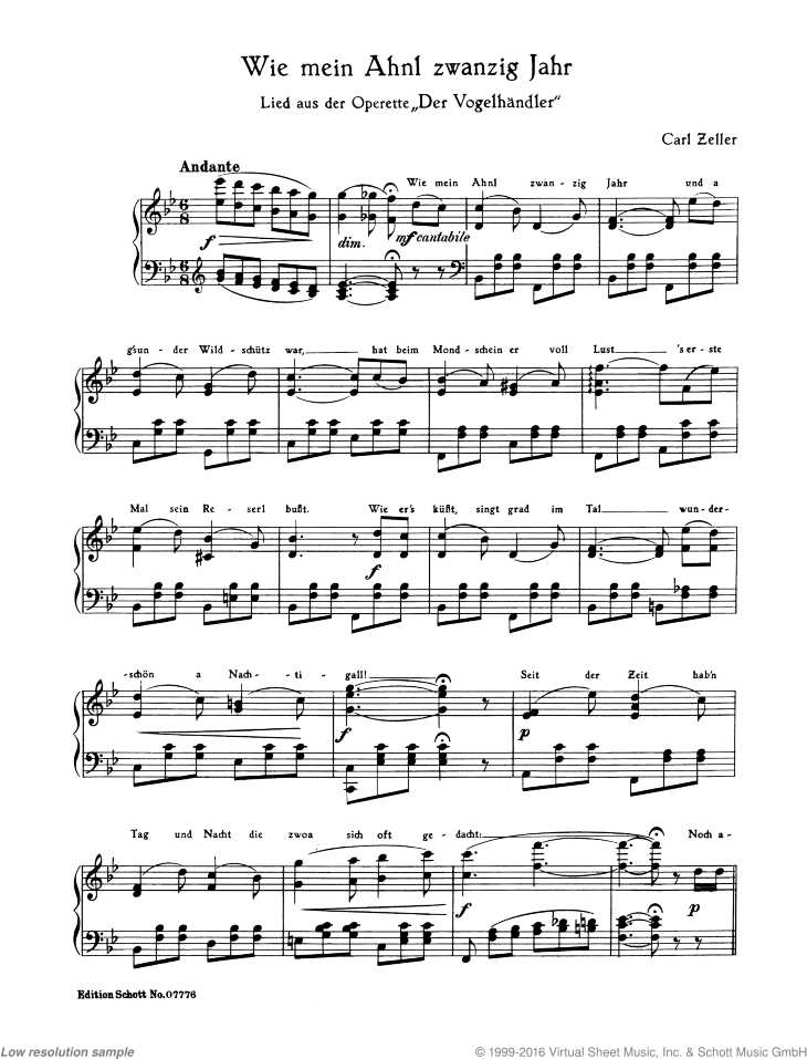 Wie mei Ahnl zwanzig Jahr sheet music for piano solo by Carl Zeller, classical score, easy skill level