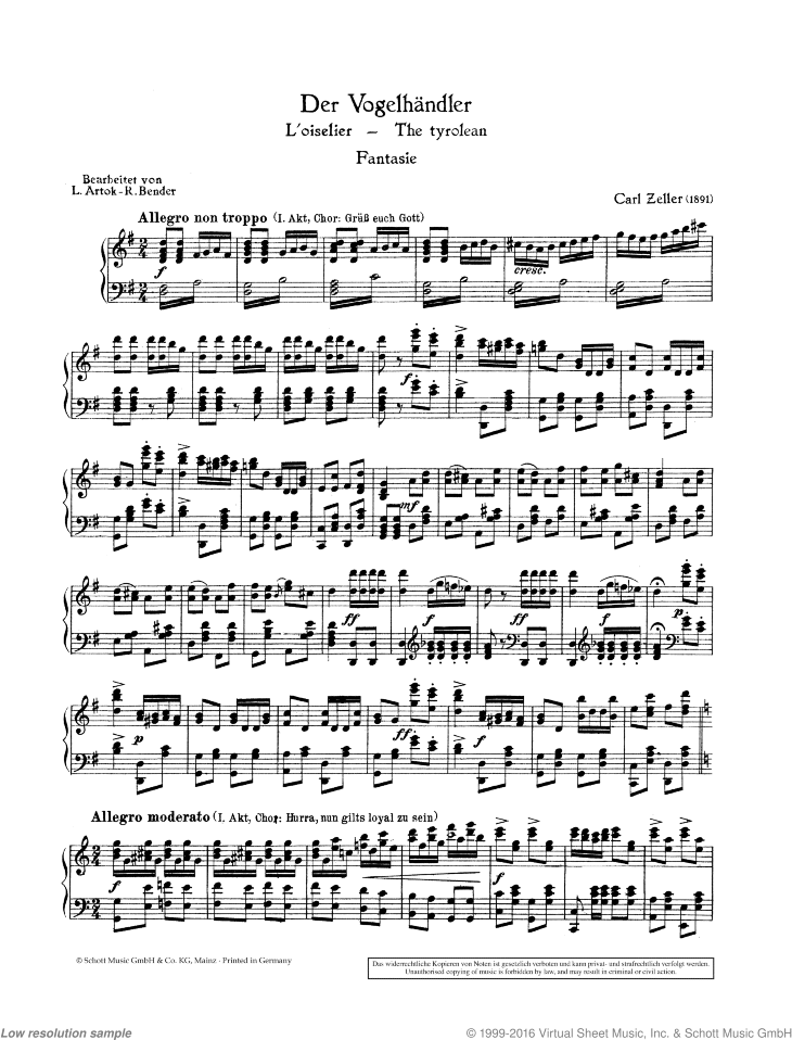 Fantasy sheet music for piano solo by Carl Zeller, classical score, easy/intermediate skill level
