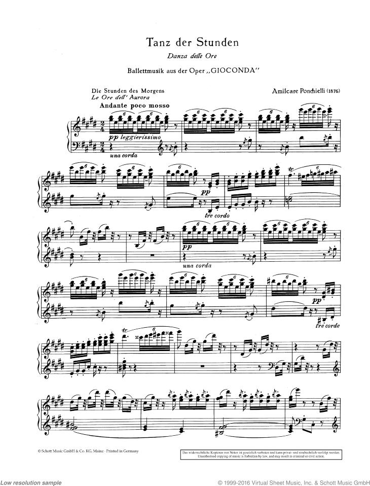 Danza delle ore from the opera Gioconda - Piano