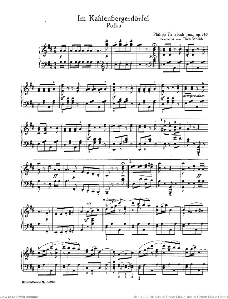 Im Kahlenbergerdorfel sheet music for piano solo by Philipp Jr. Fahrbach, classical score, easy/intermediate skill level
