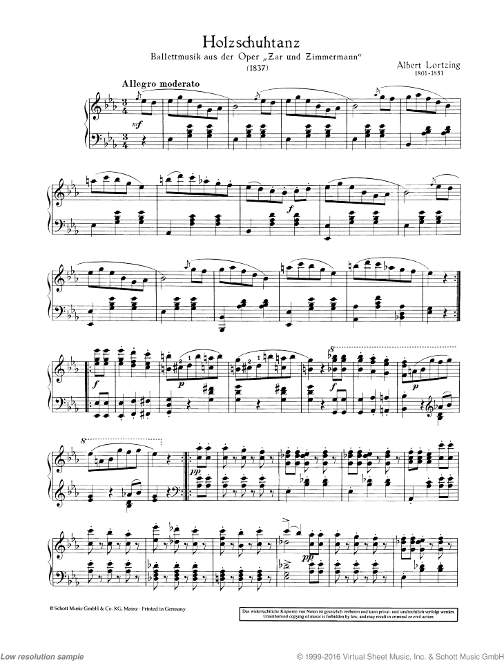 Holzschuhtanz sheet music for piano solo by Albert Lortzing, classical score, easy/intermediate skill level