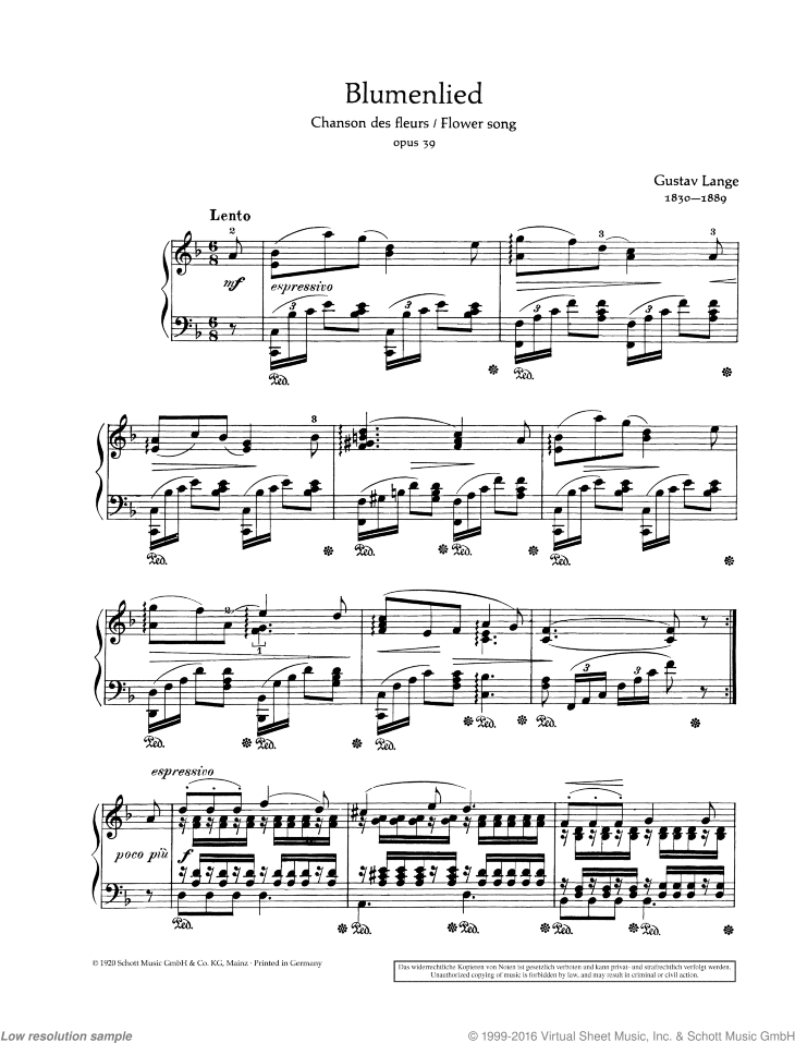 Flower Song sheet music for piano solo by Gustav Langer, classical score, easy/intermediate skill level