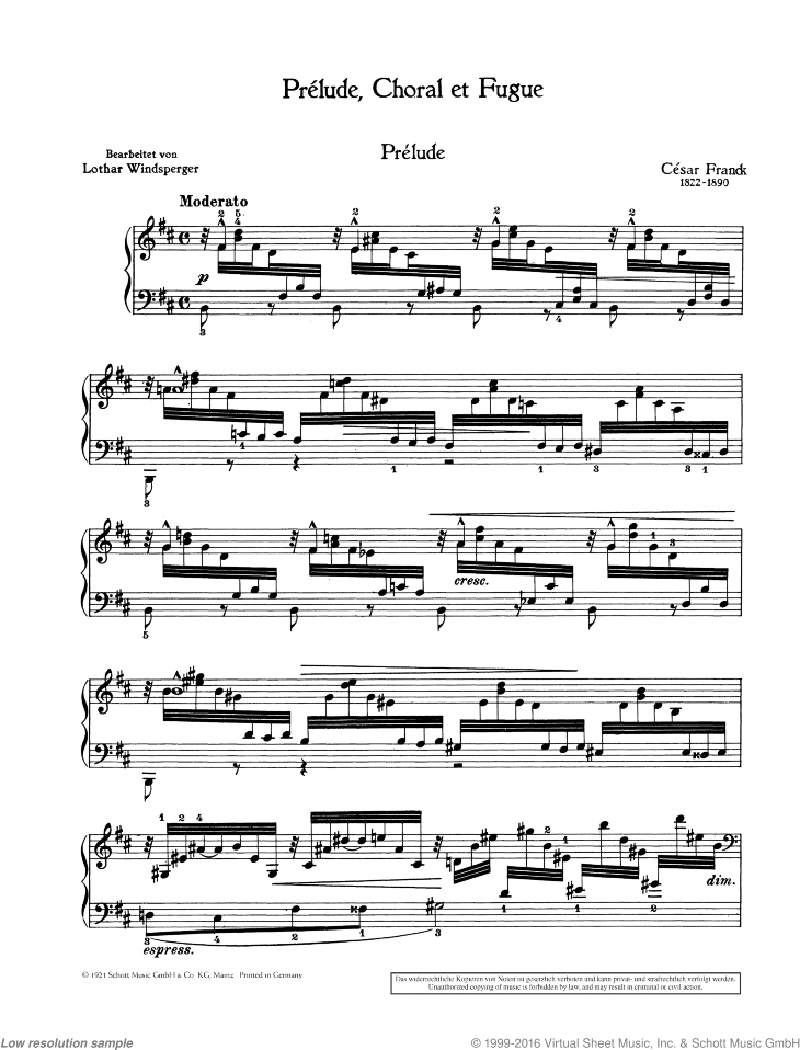 Prelude sheet music for piano solo by Cesar Franck, classical score, advanced skill level