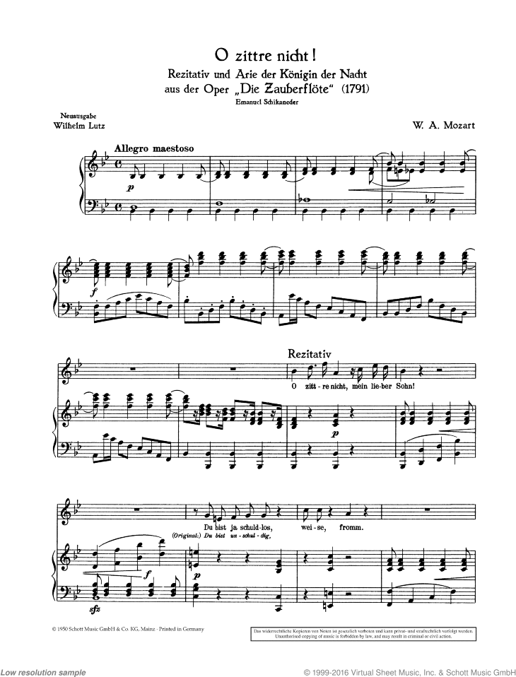 O zittre nicht! sheet music for soprano and piano by Wolfgang Amadeus Mozart, classical score, easy/intermediate skill level