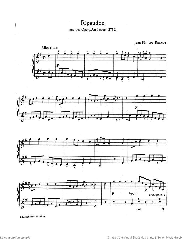 Rigaudon sheet music for piano solo by Jean-Philippe Rameau, classical score, easy/intermediate skill level