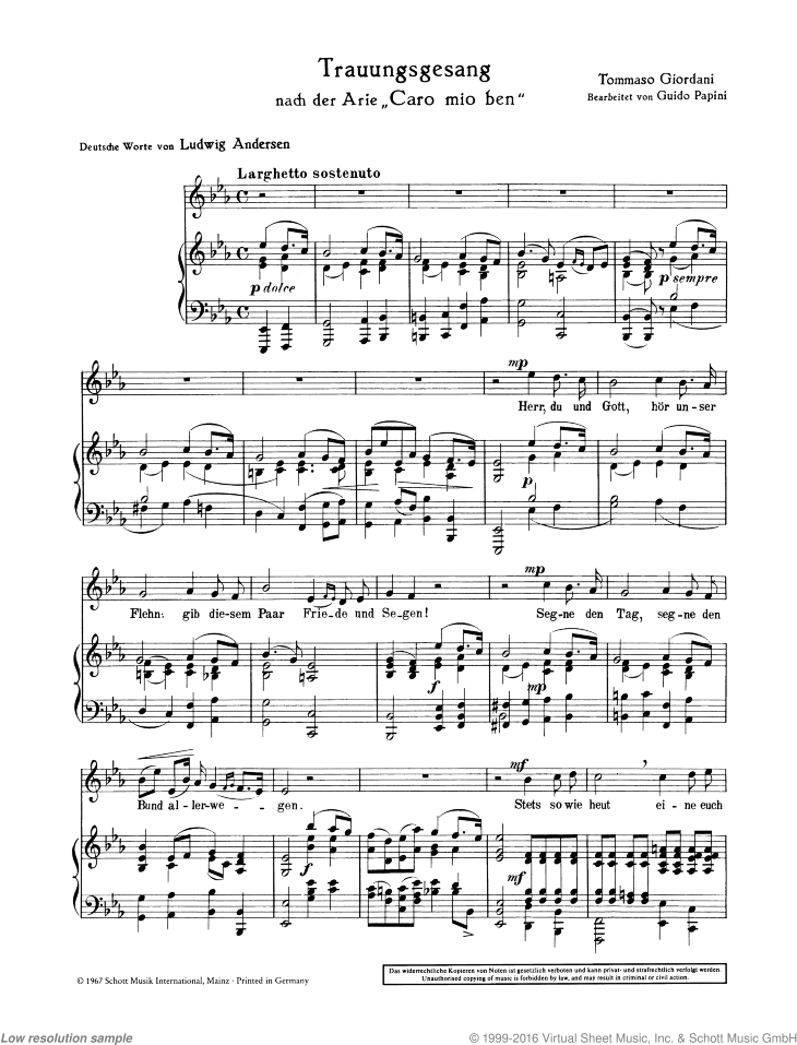Wedding Song sheet music for mezzo-soprano and piano by Tommaso Giordani, classical score, easy/intermediate skill level