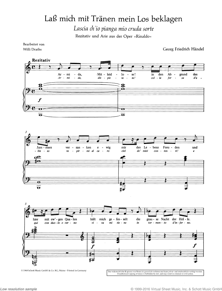 Lascia ch'io pianga mia cruda sorte sheet music for soprano and piano by George Frideric Handel, classical score, easy/intermediate skill level