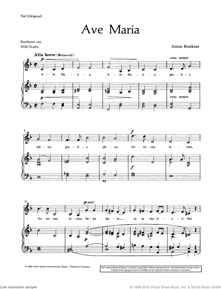 Ave Maria sheet music for alto and piano by Anton Bruckner, classical score, easy/intermediate skill level