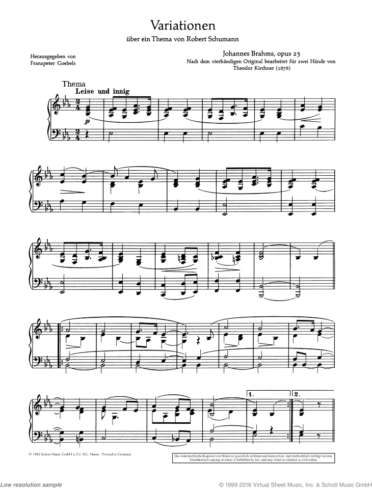 Variations on a theme by Robert Schumann sheet music for piano solo by Johannes Brahms, classical score, advanced skill level