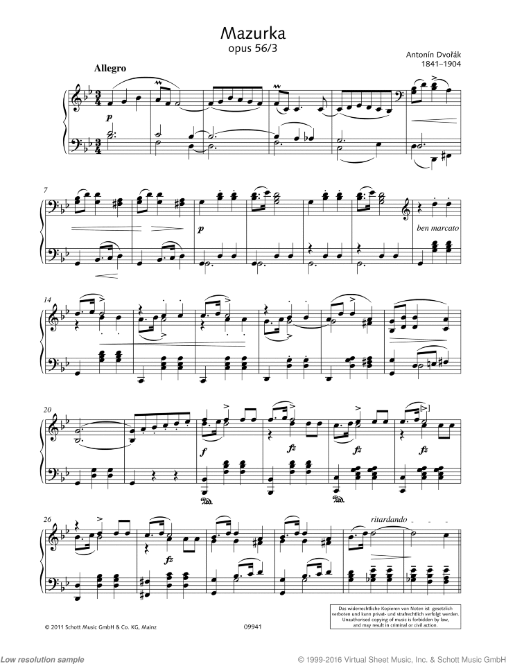 Mazurka in B-flat major sheet music for piano solo by Antonin Dvorak, classical score, easy/intermediate skill level
