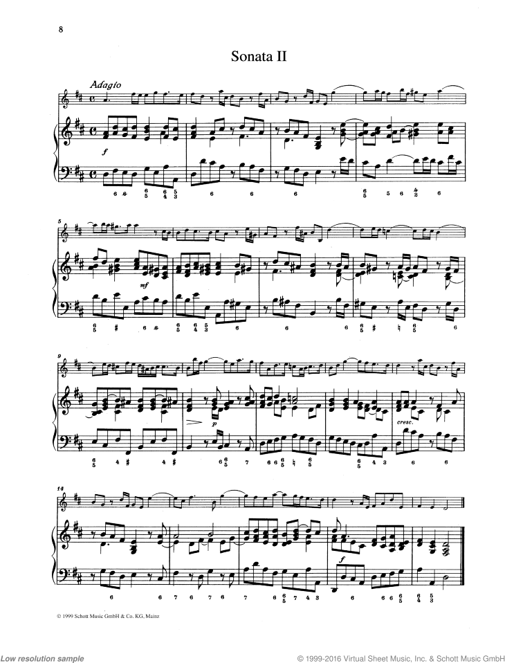 Sonata No. 2 sheet music for violin and piano by Johann Christoph Pepusch, classical score, easy/intermediate skill level