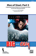 Cover icon of Man of Steel, Part 3 (COMPLETE) sheet music for marching band by Hans Zimmer and Michael Story, intermediate skill level