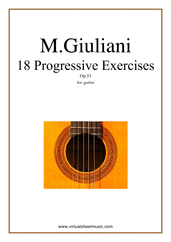 Cover icon of Progressive Exercises, 18 - Op.51 sheet music for guitar solo by Mauro Giuliani, classical score, easy/intermediate skill level