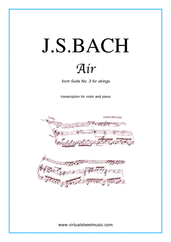 Cover icon of Air from Suite No.3 (on the G string) sheet music for violin and piano by Johann Sebastian Bach, classical score, intermediate skill level