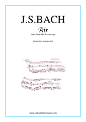 Cover icon of Air from Suite No.3 (on the G string) sheet music for piano solo by Johann Sebastian Bach, classical score, easy/intermediate skill level