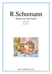 Cover icon of Album for the Youth (COMPLETE) sheet music for piano solo by Robert Schumann, classical score, easy/intermediate skill level