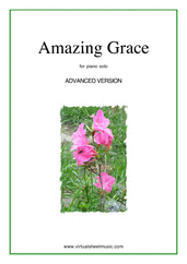 Cover icon of Amazing Grace (advanced version) sheet music for piano solo, intermediate/advanced skill level