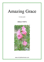 Cover icon of Amazing Grace (parts) sheet music for brass quartet, intermediate skill level