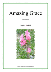 Cover icon of Amazing Grace (parts) sheet music for brass quintet, intermediate skill level