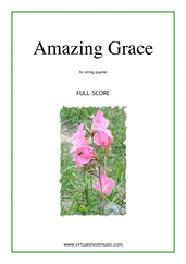 Cover icon of Amazing Grace (f.score) sheet music for string quartet or string orchestra, easy/intermediate skill level
