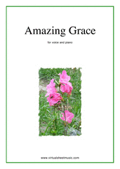 Amazing Grace (in G) for voice and piano - easy gospel sheet music