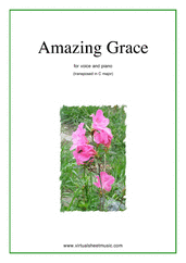 Amazing Grace (in C) for voice and piano - miscellaneous voice sheet music