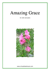 Cover icon of Amazing Grace sheet music for violin and piano, easy skill level