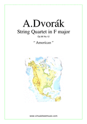 "Cover icon of Quartet Op.96 No.12 ""The American"" (parts) sheet music for string quartet by Antonin Dvorak, classical score, intermediate/advanced skill level"