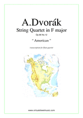 "Cover icon of Quartet Op.96 No.12 ""The American"" (parts) sheet music for flute quartet by Antonin Dvorak, classical score, intermediate/advanced skill level"